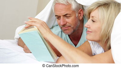 Smiling couple reading a book together in bed at home in...