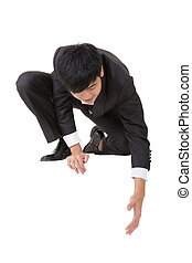 Asian businessman sit and bend down to help somebody, full...