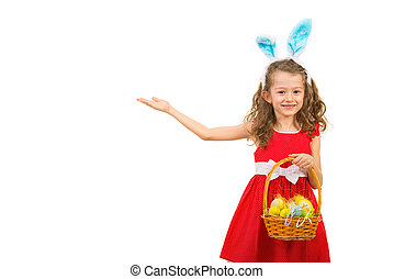 Little girl with bunny ears making presentation - Little...