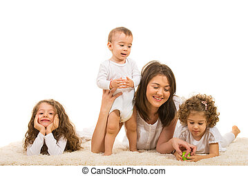 Mother and kids home - Mother and their kids having fun home...