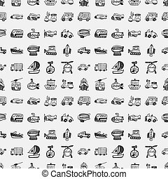 seamless doodle transport pattern