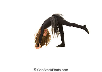 Little dancer girl exercising isolated on white background