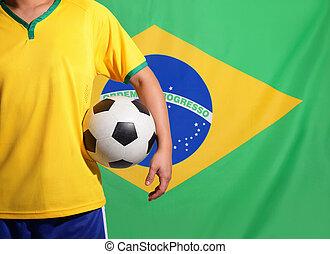 Brazil and soccer - Brazil flag and soccer