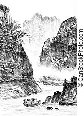 traditional Chinese painting , landscape - traditional...