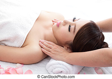 woman smile getting massage on shoulder - Beautiful woman...