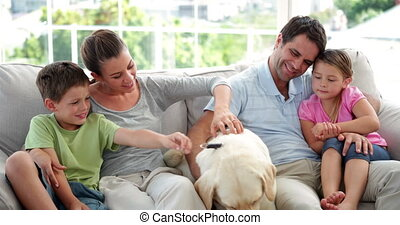 Cute family relaxing together on the couch with their...