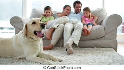 Cute family relaxing together on the couch with their dog on...