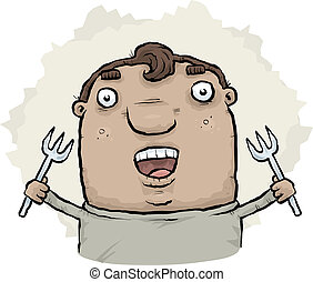 Man with Forks - A cartoon man holding a pair of forks
