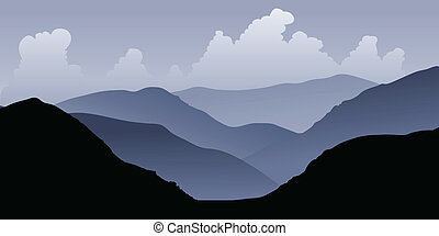 Andes Foothills - Silhouette of foothills leading to the...