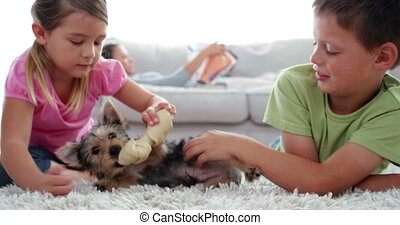 Siblings playing with puppy and bone with their mother...