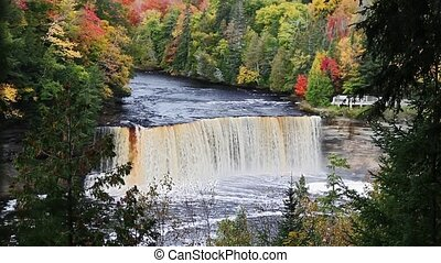 Big Falls in Autumn Forest - Upper Tahquamenon Falls, a very...