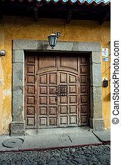 antigas, casa, ricos, portões, Antigua, guatemala