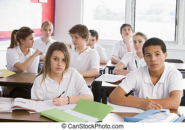 High school students in class