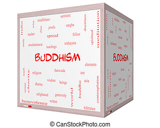 Buddhism Word Cloud Concept on a 3D cube Whiteboard