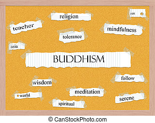 Buddhism Corkboard Word Concept with great terms such as...