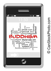 Buddhism Word Cloud Concept on Touchscreen Phone