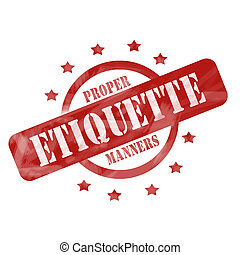 Red Weathered Etiquette Stamp Circle and Stars design - A...