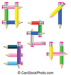 pencils number 0-4