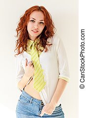 Female portrait. Attractive red haired woman