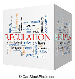 Regulation 3D cube Word Cloud Concept with great terms such...
