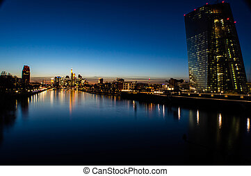Europes Financial Capital - Frankfurt Skyline along the...