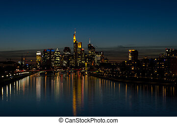 Frankfurt Skyline At Night - Frankfurt Skyline at night with...
