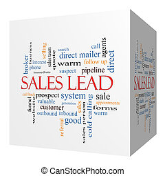 Sales Lead 3D cube Word Cloud Concept with great terms such...