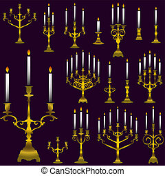 chandelier-color-set - vector chandelier silhouettes set
