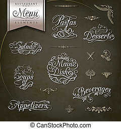 Vintage style restaurant menu designs - Calligraphic titles...