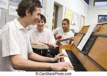 colegiales, juego, musical, instrumentos, Música,...