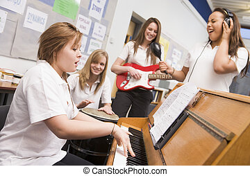 colegialas, juego, musical, instrumentos, Música,...