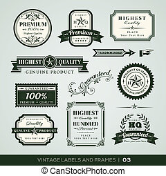 Vintage Premium Quality and Guarantee Labels and Frames -...