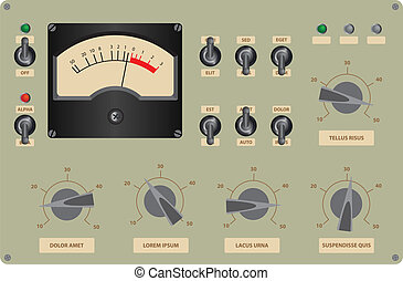 Control Panel - Editable vector illustration of analog...