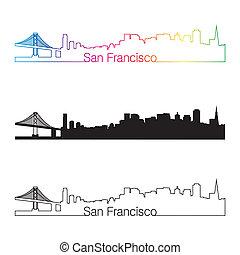 San Francisco skyline linear style with rainbow in editable...