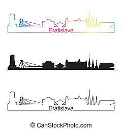 Bratislava skyline linear style with rainbow