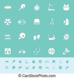 Fitness sport color icons on green background, stock vector