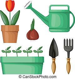 Garden equipment set - Garden equipment and plants in pots...