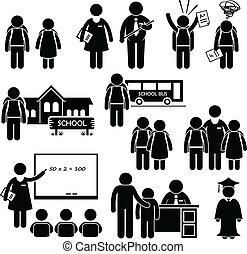 Student Teacher Headmaster School - A set of pictograms...