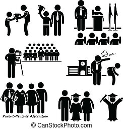 School Student Events Icon - A set of pictograms...