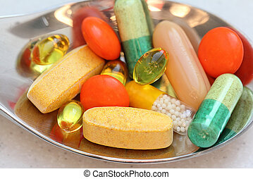 mix of vitamins colorful