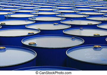 barrels - metal barrels of blue color