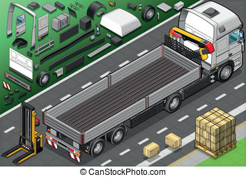 Isometric Pick Up Truck in Rear View - Detailed Illustration...