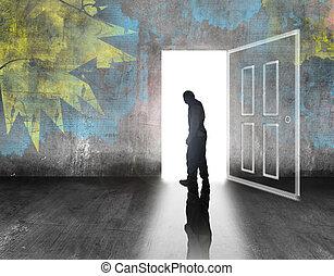 man walking out of door