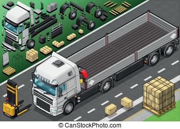 Isométrico, Arriba, camión, pico, frente, vista