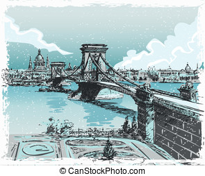 Vintage Hand Drawn View of Lions Bridge in Budapest -...
