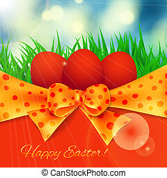 Easter card. 3 red Easter eggs on spring bckground - blue...