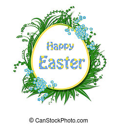Easter card. Easter egg shaped paper label and lettering...