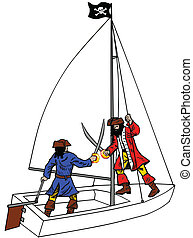 Pirate Duel on Sailboat - Pirate boarding a dinghy.