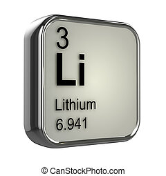 3d Lithium element - 3d render of the lithium element from...