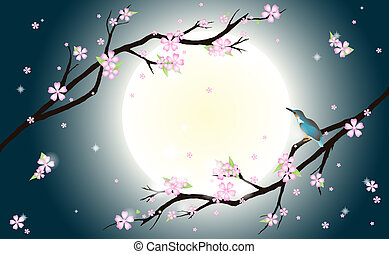 Background with stylized cherry blossom and bird. - This...